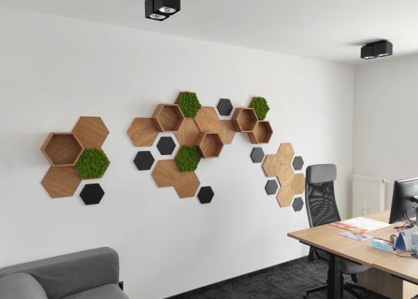 Biuro pomysł na ścianę drewniane panele ścienne heksagon Skotiwood