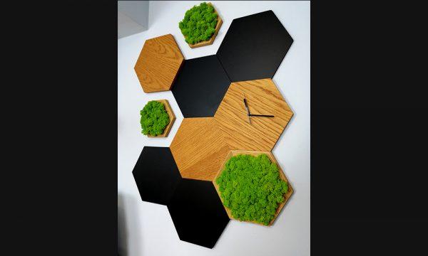 panel ścienny z mchu - heksagon