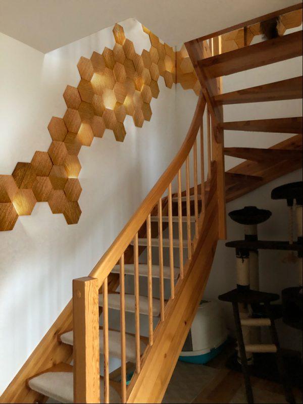 heksagon podświetlany, drewniane panele skotiwood